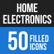 50 Home Electronics Filled Blue & Black Icons