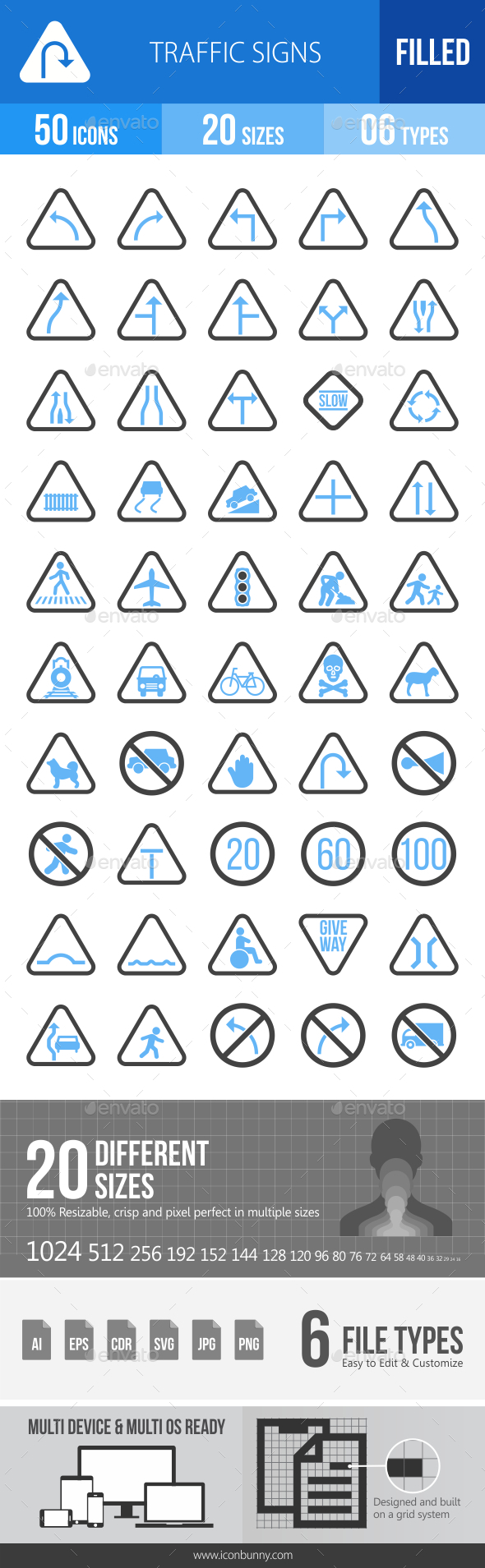 50 Traffic Signs Filled Blue & Black Icons - Icons