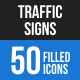 50 Traffic Signs Filled Blue & Black Icons