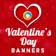 Valentine Day Sale Banner Set
