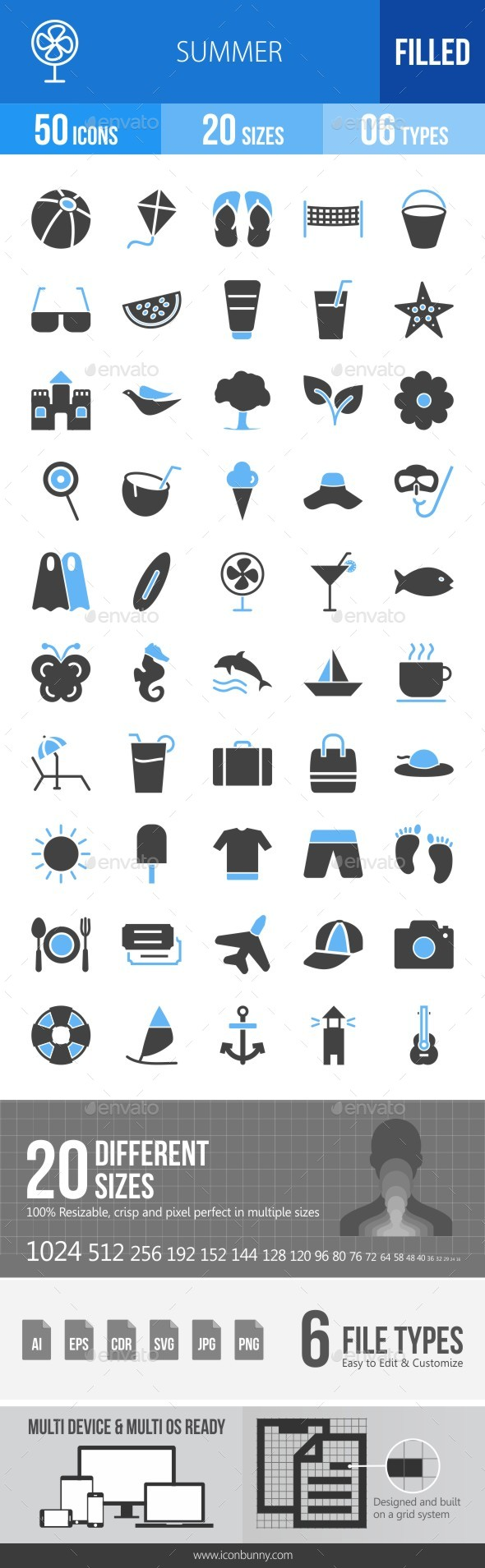 50 Summer Filled Blue & Black Icons - Icons