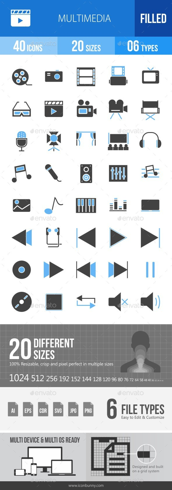 40 Multimedia Filled Blue & Black Icons - Icons
