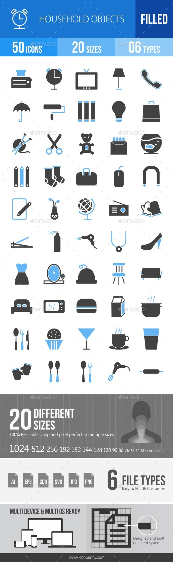 50 Household Objects Filled Blue & Black Icons - Icons