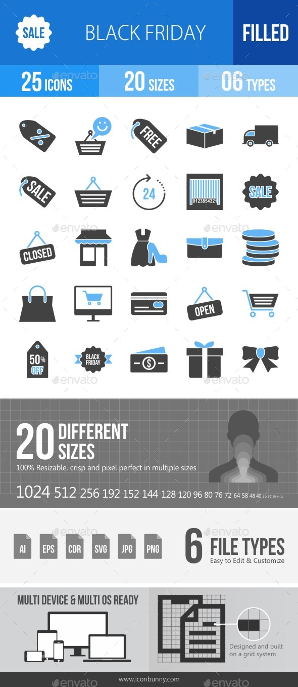 25 Black Friday Filled Blue & Balck Icons - Icons