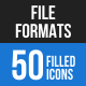 50 File Formats Filled Blue & Black Icons