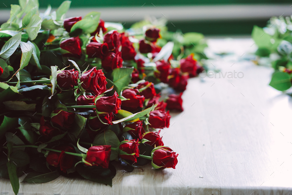 fresh cut red roses lie on the table - Stock Photo - Images