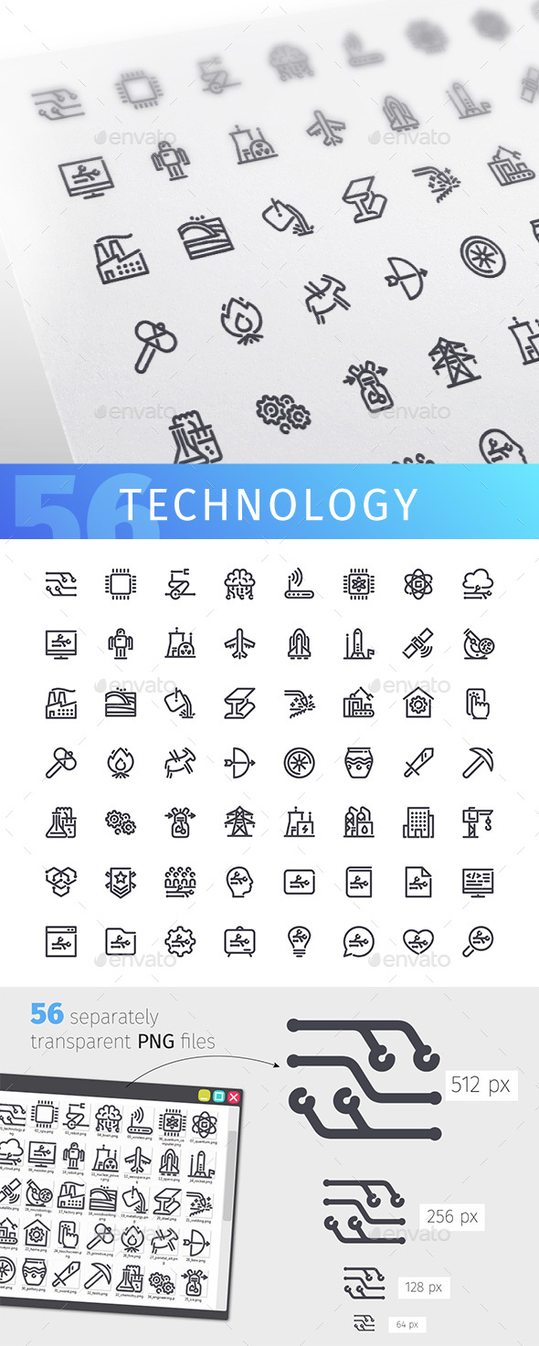 Technology Line Icons Set - Technology Icons