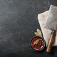Cooking background with vintage butcher cleaver and spices on blackboard - PhotoDune Item for Sale