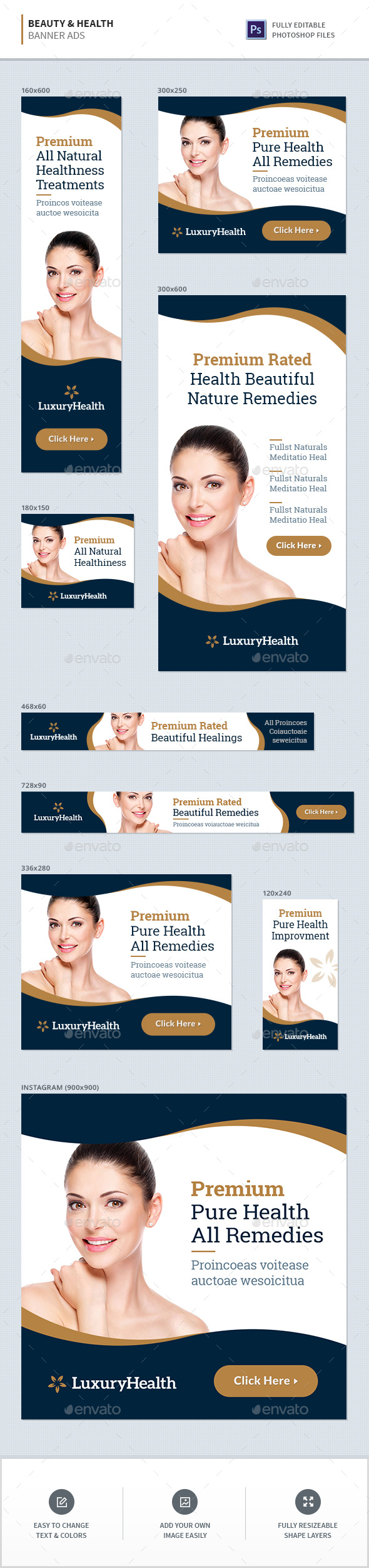 Beauty & Health Banner Ads - Banners & Ads Web Elements