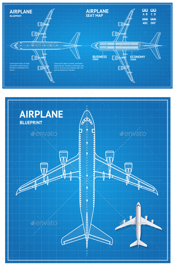 Airplane Blueprint Plan Top View - Travel Conceptual