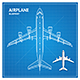 Airplane Blueprint Plan Top View