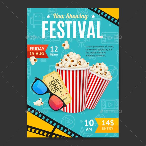 Cinema Movie Festival Placard Banner Card - Miscellaneous Vectors
