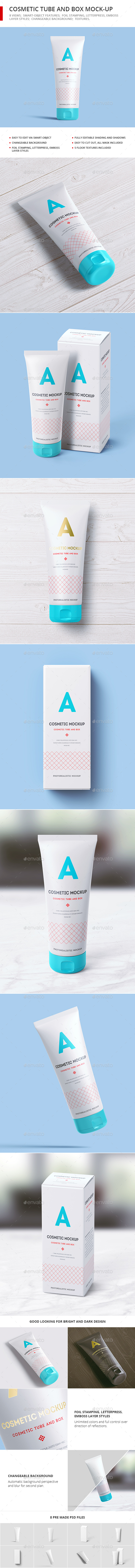 Cosmetic Tube and Box Mock-up - Beauty Packaging