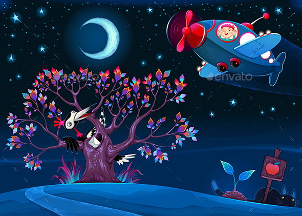 The Woodpecker is Saying Hello to the Airplane in the Night - Animals Characters