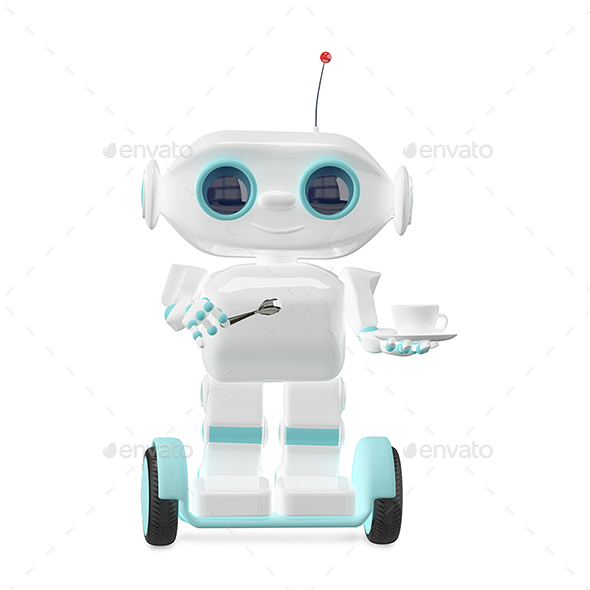 3D Illustration Little Robot with Coffee - Characters 3D Renders