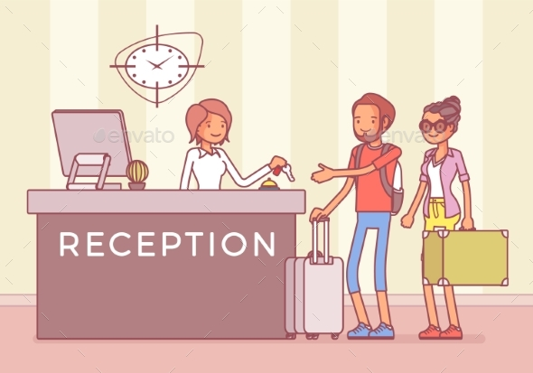 Tourists at Reception in a Hotel - Travel Conceptual
