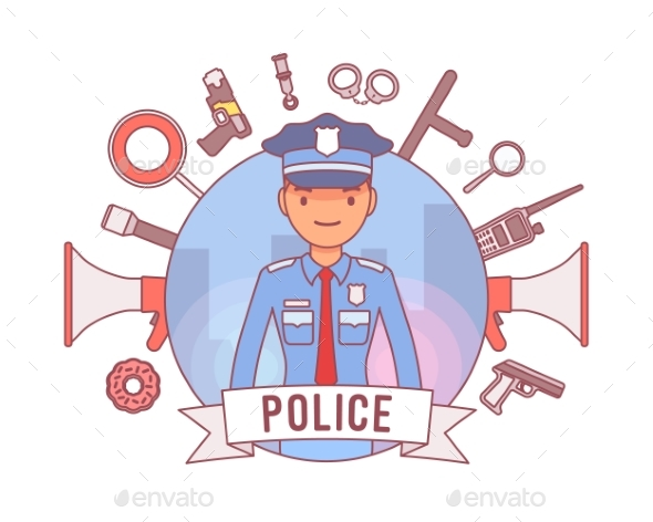 Policeman and Weapons Poster - People Characters