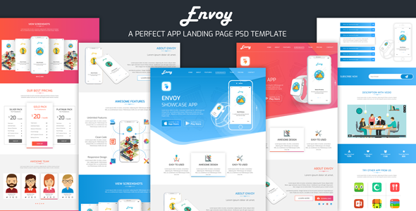 Envoy - App Landing PSD Template - Software Technology