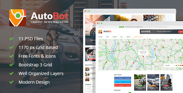 AutoBot - Traffic News Magazine PSD Template - Miscellaneous PSD Templates
