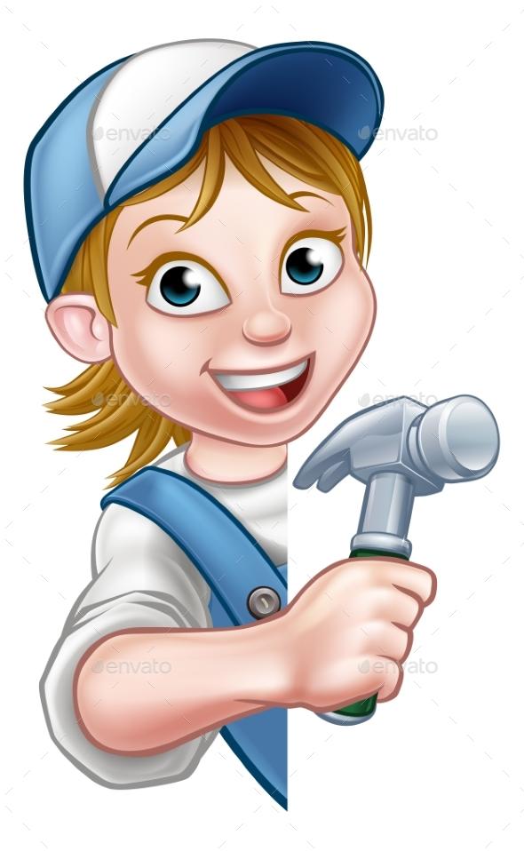 Woman Builder Carpenter Cartoon - People Characters