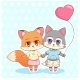 Kawaii Anime Cartoon Puppy and Fox