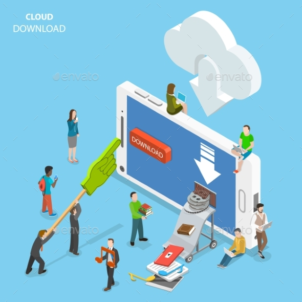 Cloud Download Flat Isometric Vector Concept - Computers Technology