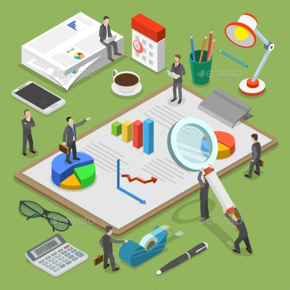 Financial Audit Flat Isometric Vector Concept - Industries Business