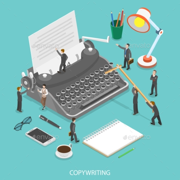 Copywriting Flat Isometric Vector Concept - Computers Technology
