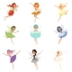 Colorful Set of Fairies in Flying Action