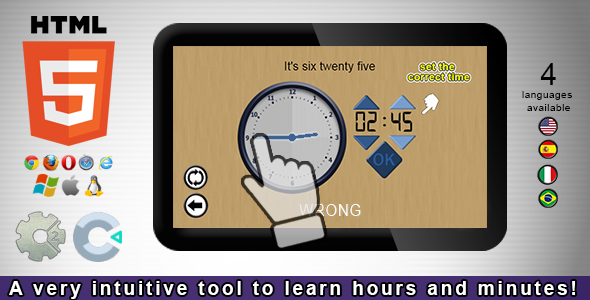 CodeCanyon Adjust the Clock HTML5 Educational Game 21222453