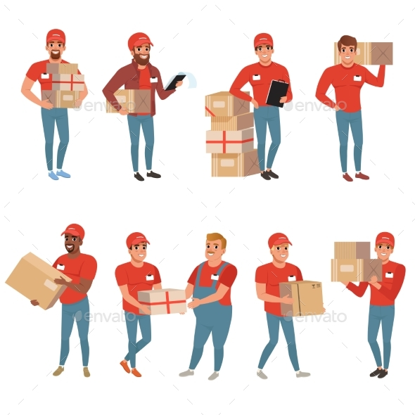 Set of Postal Workers in Different Poses - Services Commercial / Shopping