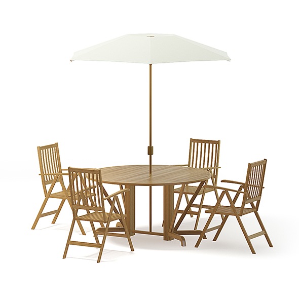 Garden Table Set 3D Model - 3DOcean Item for Sale