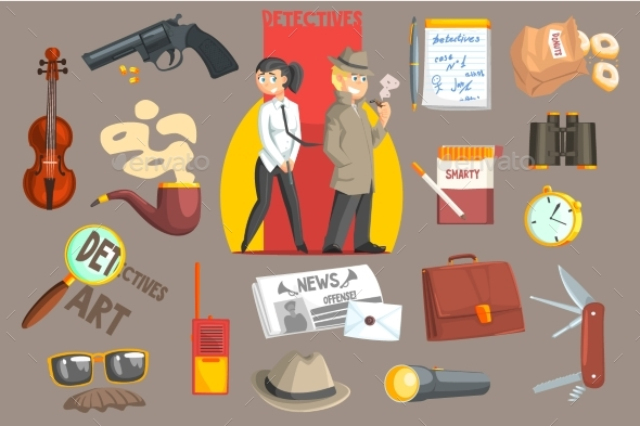 Detectives and Their Equipment Objects Set - People Characters