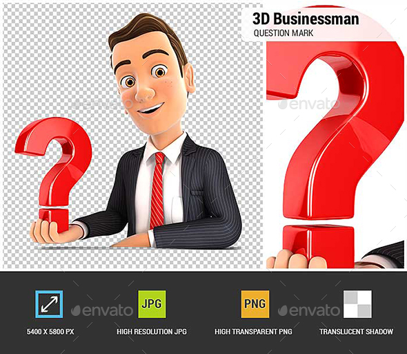3D Businessman Presenting Question Mark - Characters 3D Renders