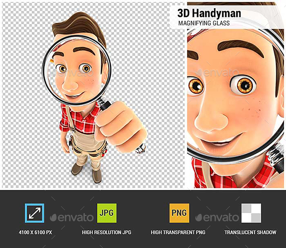 3D Handyman Looking into a Magnifying Glass - Characters 3D Renders