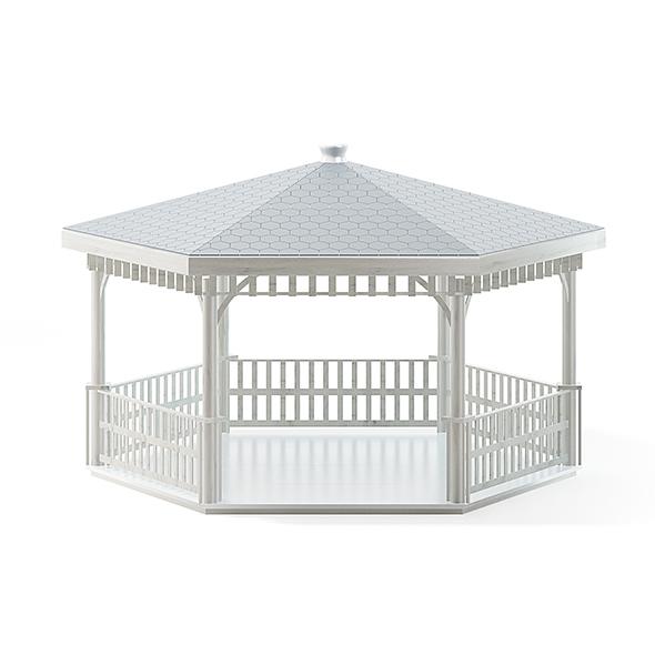 White Garden Gazdebo 3D Model - 3DOcean Item for Sale
