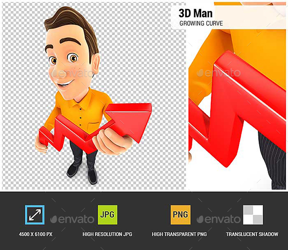 3D Man Holding a Growing Curve - Characters 3D Renders