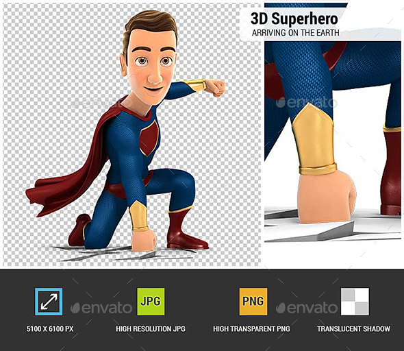 3D Superhero Arriving on the Earth - Characters 3D Renders