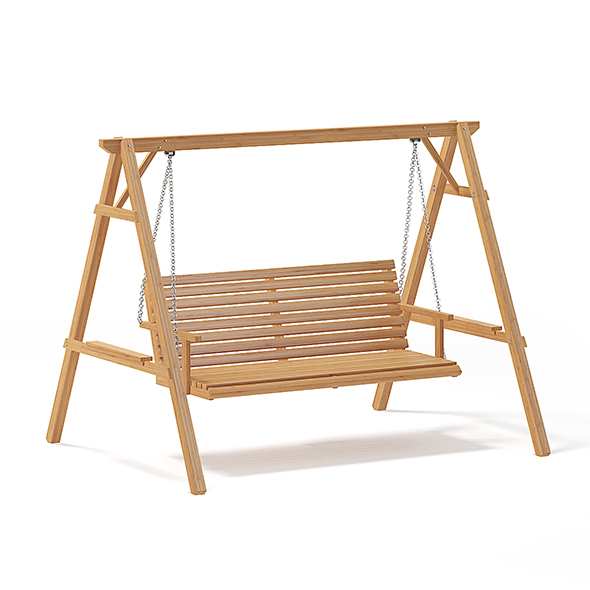 Wooden Garden Swing Chair 3D Model - 3DOcean Item for Sale