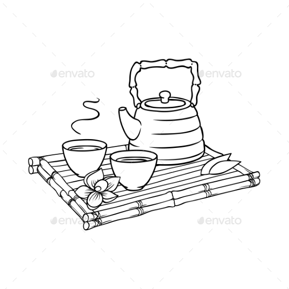 Asian Teapot and Teacups on Bamboo Trivet - Food Objects