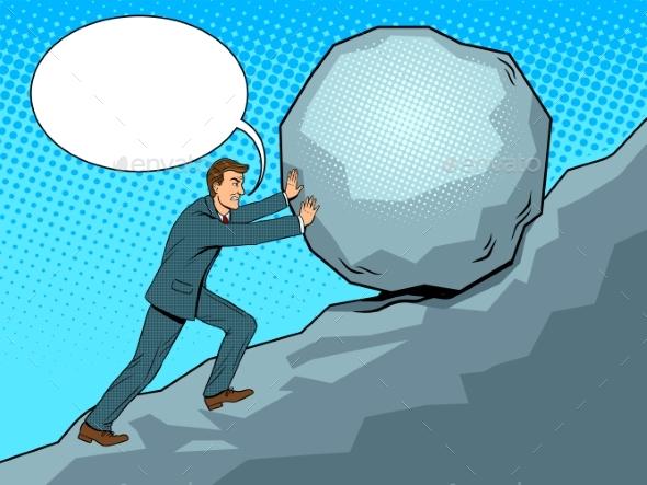 Businessman Pushing Rock Uphill Pop Art Vector - Miscellaneous Vectors