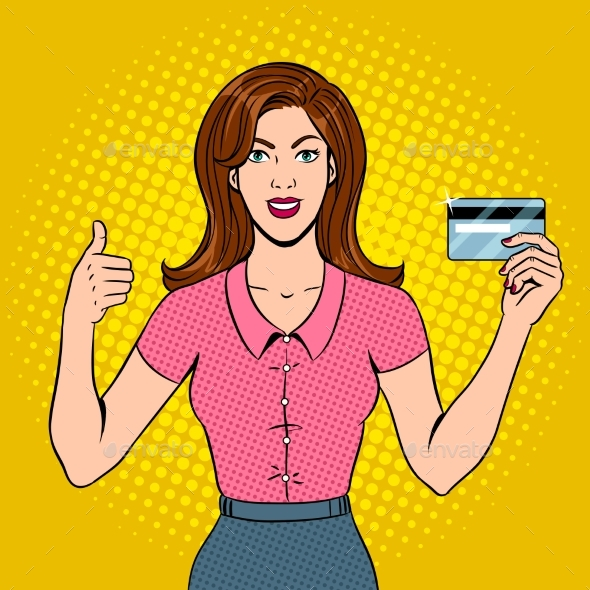 Young Woman with Bank Card Pop Art Vector - People Characters