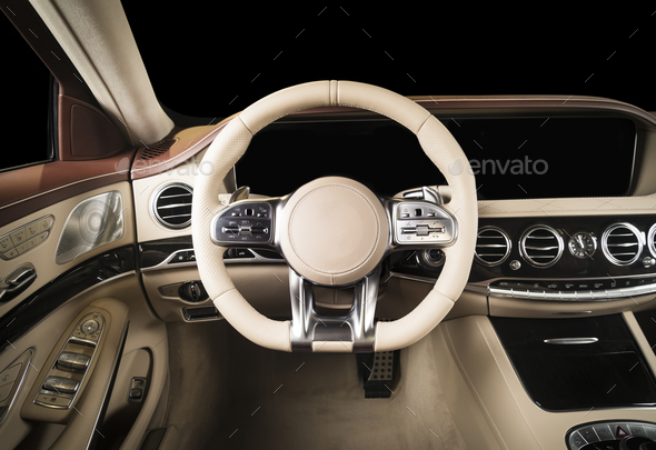 Modern luxury car red and white stitched leather interior - Stock Photo - Images