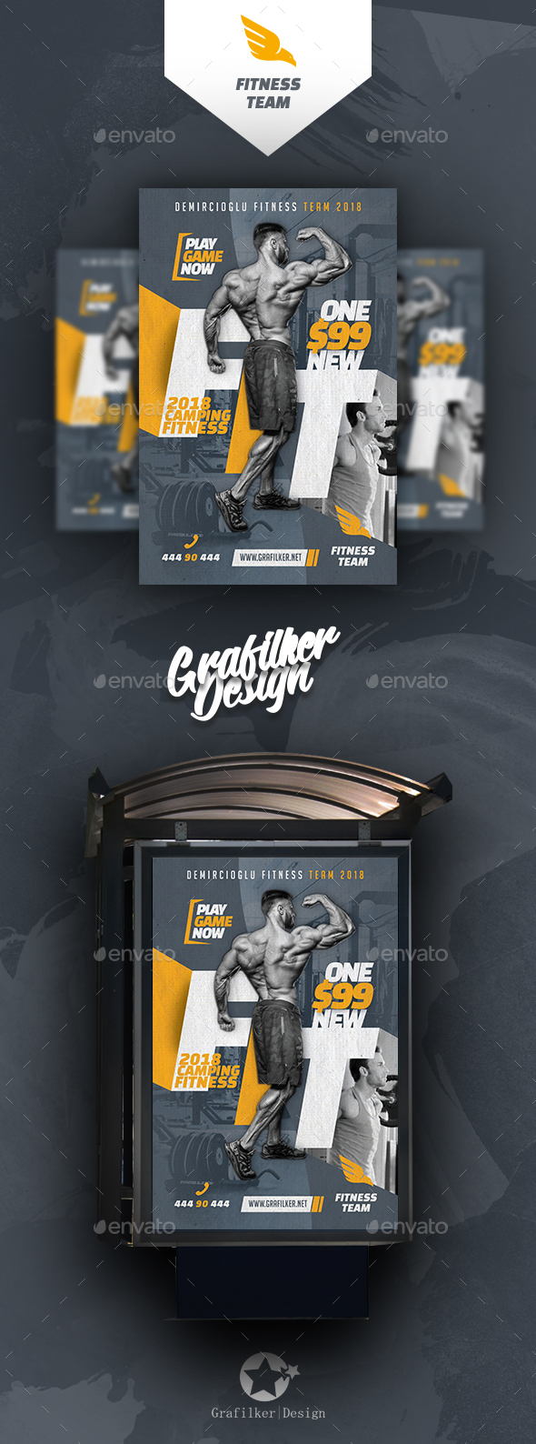 Fitness Time Poster Templates - Signage Print Templates