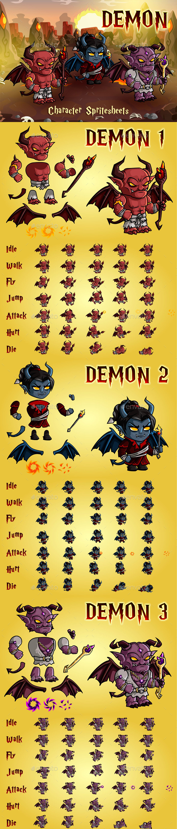 Demon 2D Game Character Sprite Sheet - Sprites Game Assets