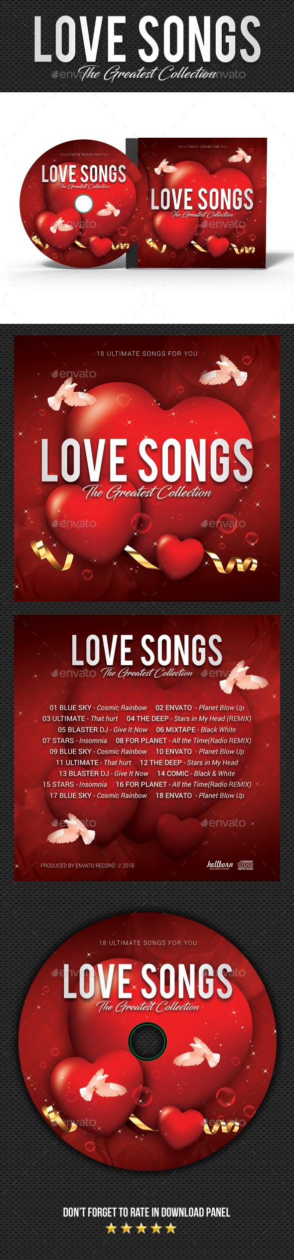Love Songs CD Cover - CD & DVD Artwork Print Templates