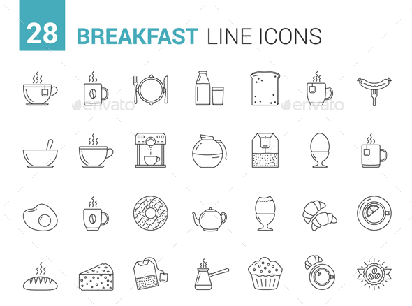 Breakfast Line Icons - Food Objects