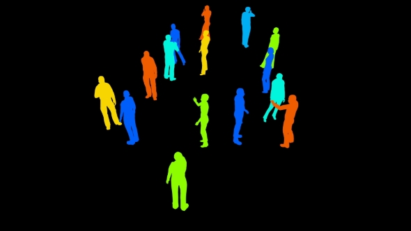 VideoHive Silhouettes of People on a Black 21254223