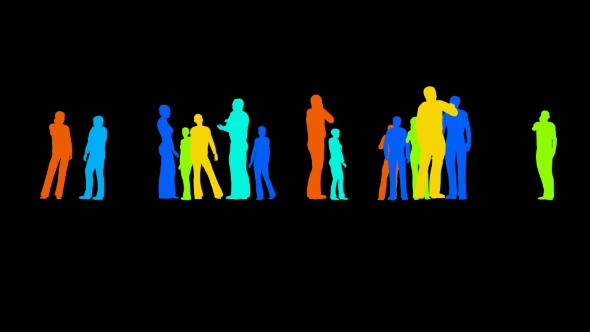 VideoHive Silhouettes of People on a Black 21254232