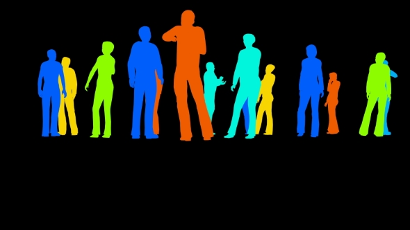 VideoHive Silhouettes of People on a Black 21254237